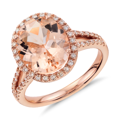 Morganite And Diamond Halo Ring In 14k Rose Gold 11x9mm