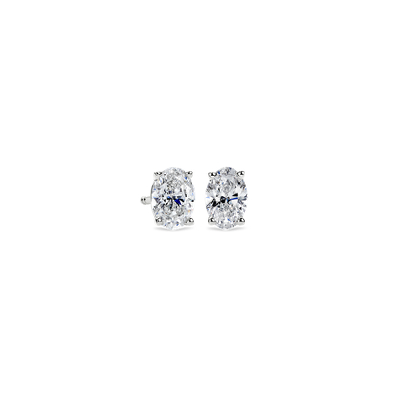 Oval Diamond Stud Earrings In 14k White Gold 1 Ct Tw