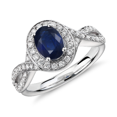 Oval Sapphire And Diamond Halo Twist Ring In 14k White