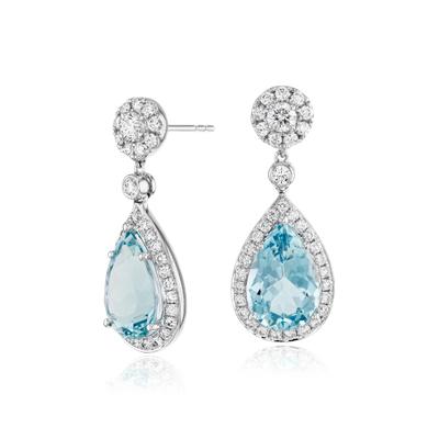 Pear Shaped Aquamarine And Diamond Halo Drop Earrings In 18k White Gold 12x8mm Blue Nile