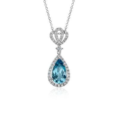 Aquamarine Pav Crown Diamond Halo Drop Pendant In 18k