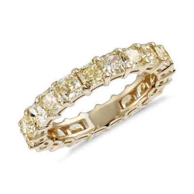 Radiant Cut Yellow Diamond Eternity Ring In 18k Yellow