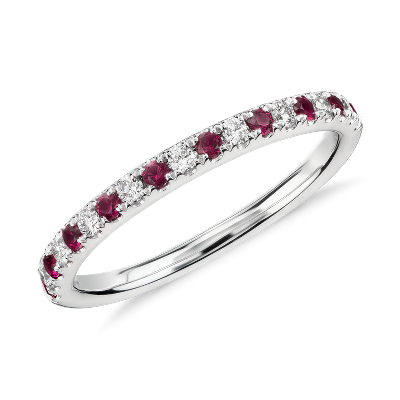 Riviera Pav Ruby And Diamond Ring In 14k White Gold 1