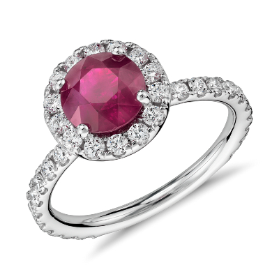 Ruby Diamond Pav Halo Ring In 18k White Gold 163 Ct