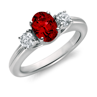 Ruby And Diamond Ring In 18k White Gold 8x6mm Blue Nile