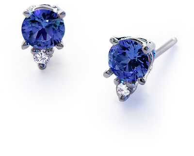 Sapphire And Diamond Stud Earrings In 18k White Gold 4
