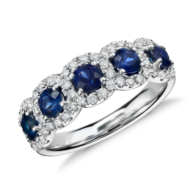 Sapphire And Diamond Halo Ring In 18k White Gold Blue Nile