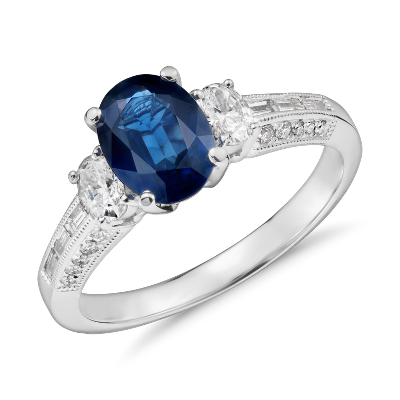 Sapphire Oval Three Stone Ring In 18k White Gold 8x6mm