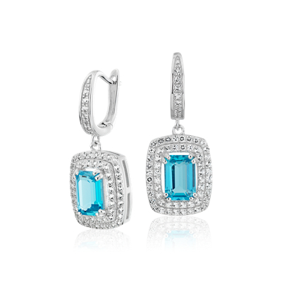 Swiss Blue Topaz And White Topaz Double Halo Drop Earrings