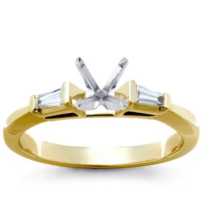 Three Stone Pav 233 Diamond Engagement Ring In 14k White Gold 2 3 Ct Tw Blue Nile