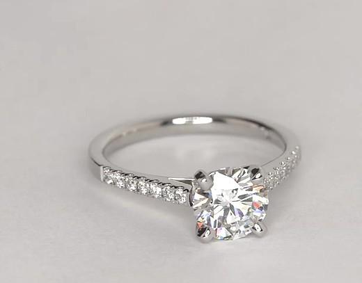 Petite Cathedral Pav Diamond Engagement Ring In Platinum