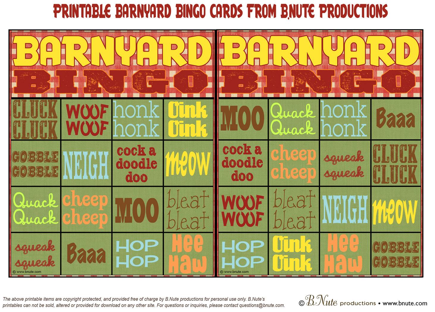 Barnyard Bingo Printable Cards