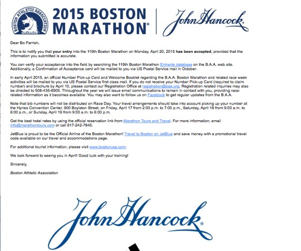 2015 Boston Marathon Acceptance