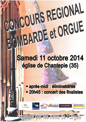 Affiche du Concours Régional Bombarde & Orgue 2014
