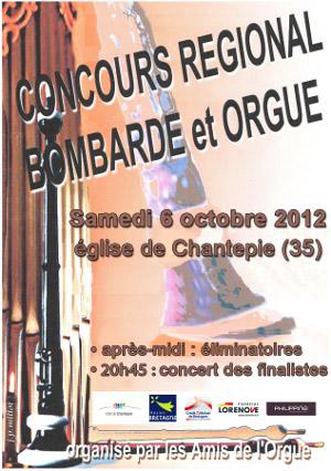 Affiche du Concours Régional Bombarde & Orgue 2012