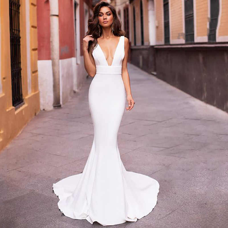 Vestidos de noiva Simples Modelo de Sereia