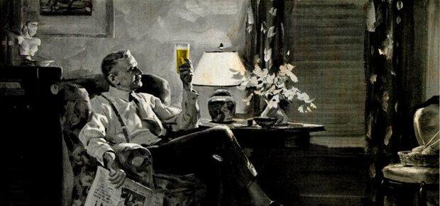 Contemplating a beer, reading the paper, aaaaaaaah.