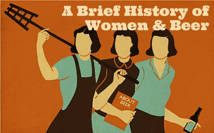 Illustration: women in beer, vintage style.
