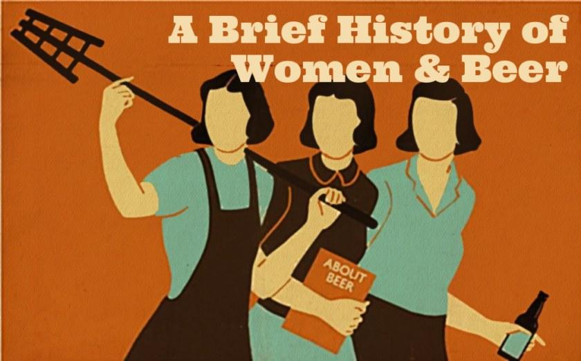 Illustration: women in beer, vintage style.