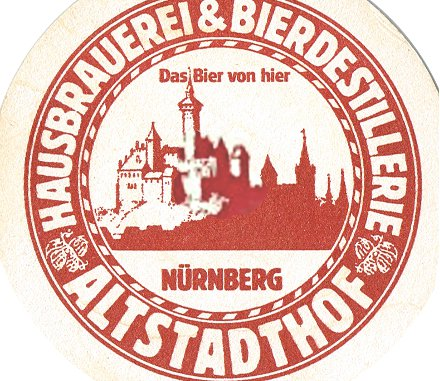 Beer mat from the Hausbrauerei Altstadthof, Nuremberg.