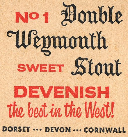 Beer mat advertising Devenish No 1 Double Weymouth Stout
