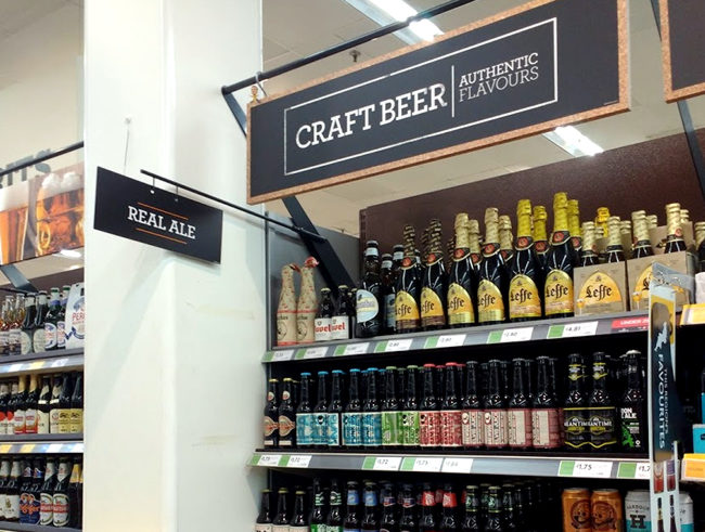 Craft beer sign in Morrison's.
