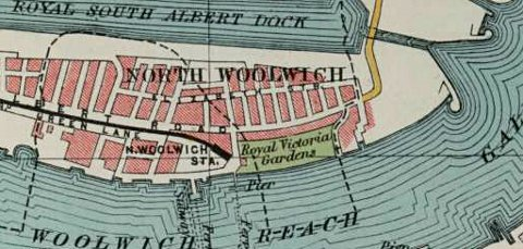 Victorian map showing the location of Victoria Gardens aka the Royal Pavilion Gardens, North Woolwich.