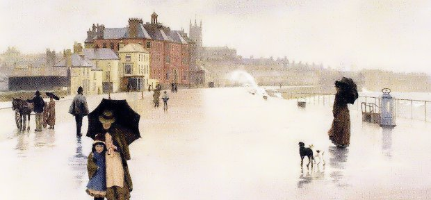 From Norman Garstin's 1889 painting of Penzance promenade, 'The Rain it Raineth  Every Day'. (The Bath Inn is up the road on the left before the red brick hotel.)