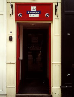 The entrance to the Post Office Vaults pub, Birmingham.