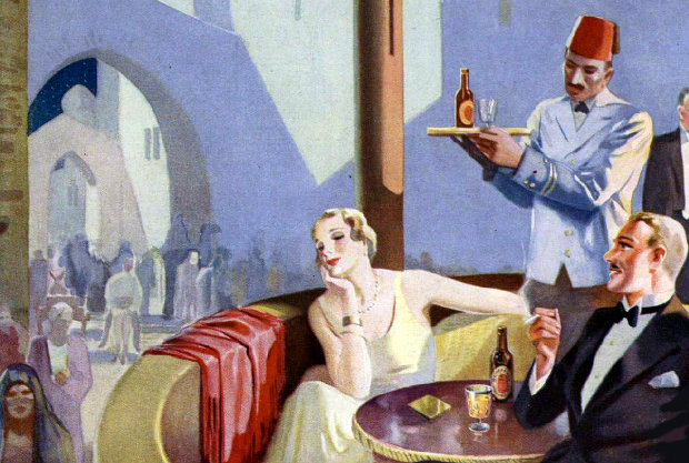 Detail from a 1930s Whitbread advert: a couple in exotic climes drinking pale ale.
