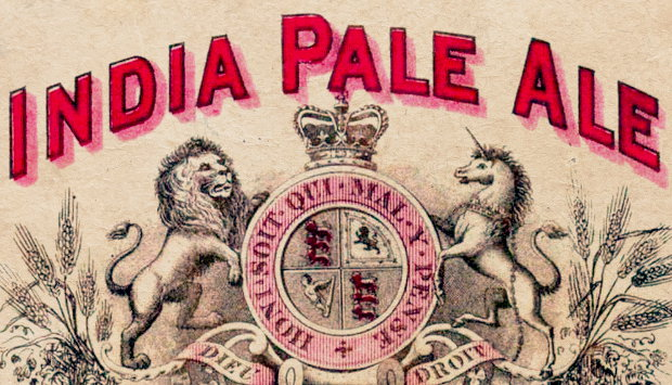 Detail from a vintage India Pale Ale beer label.