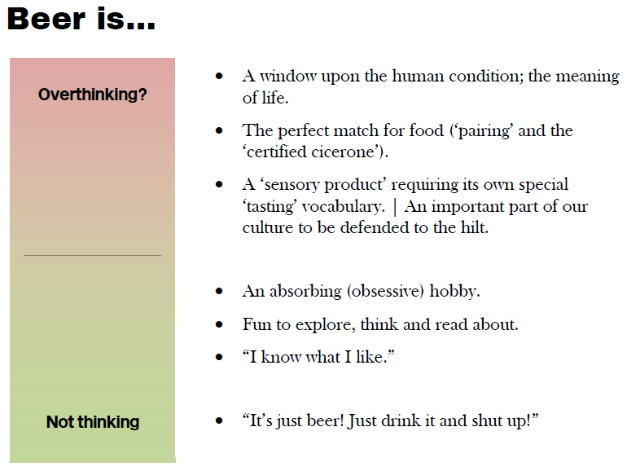 Chart: a spectrum from 'not thinking' to 'overthinking?'.