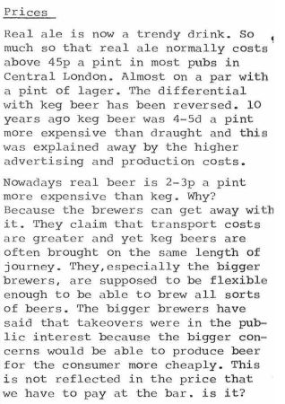 """Real ale is now a trendy drink. So much so that real ale now costs above 45p a pint most pubs in Central London."""