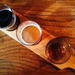 Tasting flight at the Driftwood Spars beer festival.