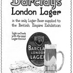 Advertisement for Barclay (Perkins) Lager, 1920s.