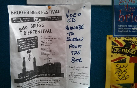 Poster for the Bruges Beer Festival at the Blue Anchor.