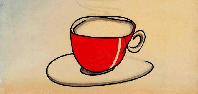 Illustration: red coffee cup.