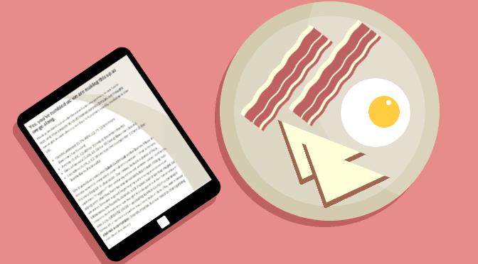 Illustration: breakfast reading.