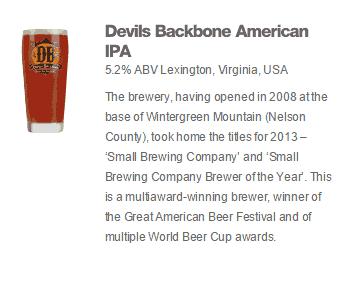 Devil's Backbone American IPA as advertised on the Wetherspoon website.