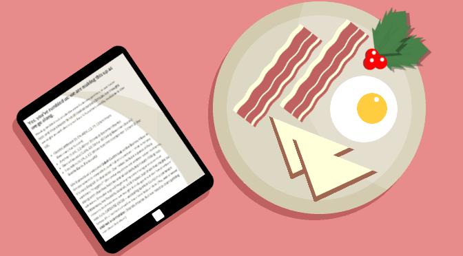 "Illustration: ""Breakfast reading."" (Christmas edition.)"