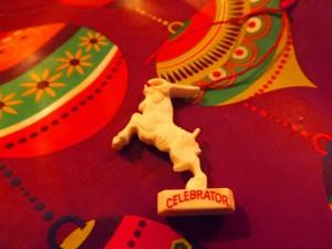 Celebrator plastic goat at Christmas.