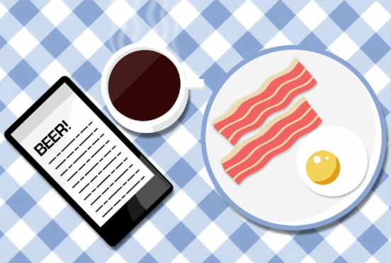 Breakfast reading illustration: steaming coffee, bacon and eggs, smartphone.