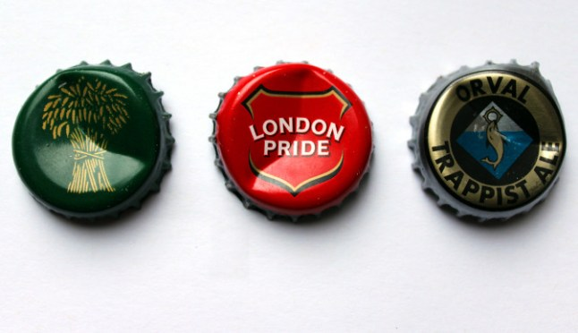 Caps from Timothy Taylor Landlord, London Pride and Orval.