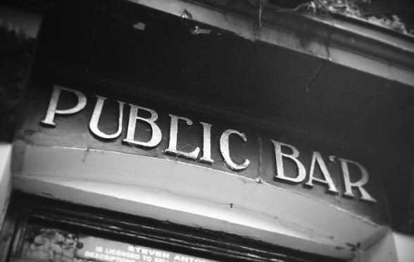 PUB SIGN: 'Public Bar'.