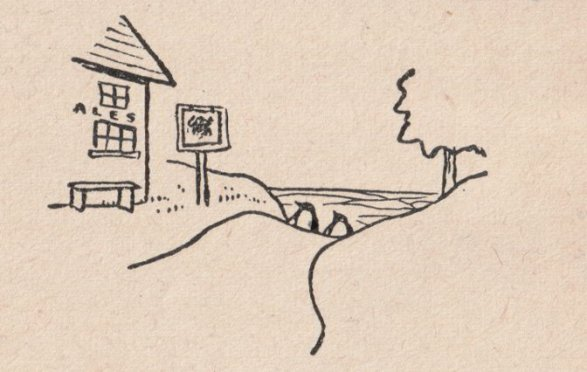 Illustration from the 1939 Penguin Guide to Somerset: two penguins out walking find a country inn.