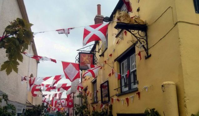 Flags at May Day in Padstow.