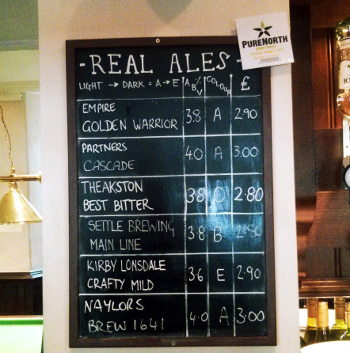 The ale list at the Talbot.