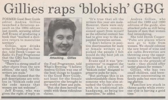Gillies raps 'blokish' GBG -- story from What's Brewing, December 1993.