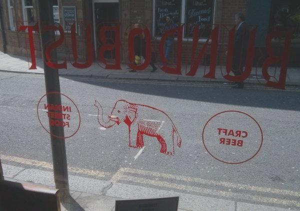 Bundobust window, Leeds.