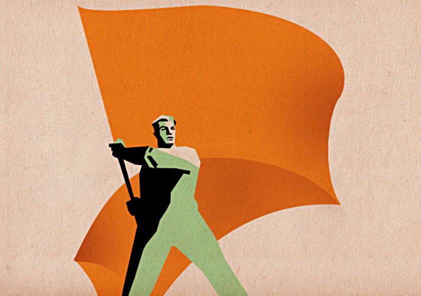 Adapted from a Soviet propaganda poster: a man waving a banner.